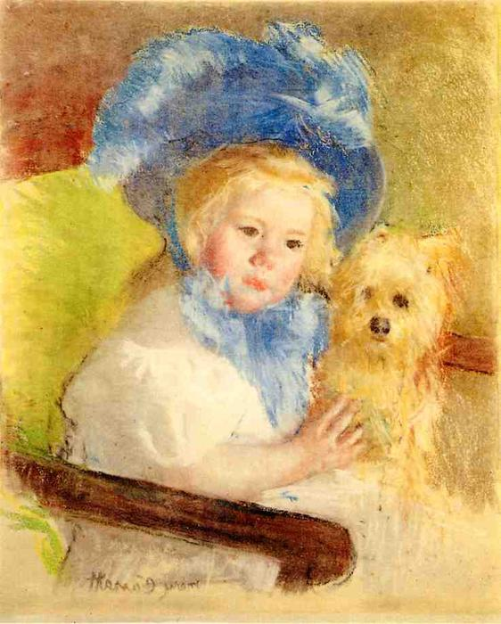 famous painting Simone in a Large Plumed Hat, Seated, Holding a Griffon Dog of Mary Stevenson Cassatt