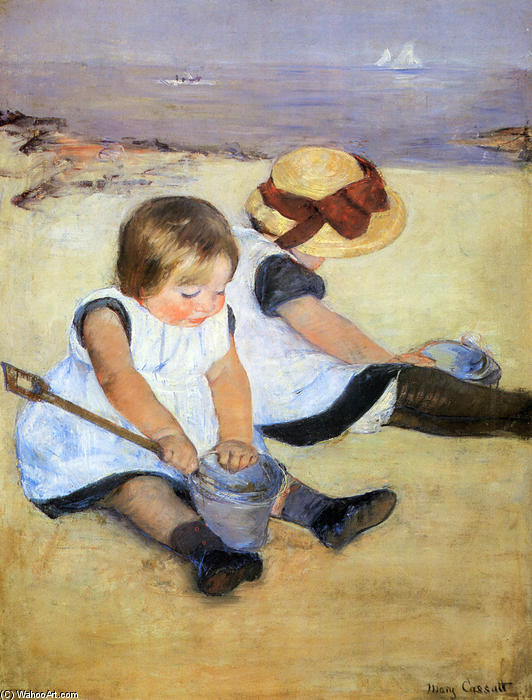 famous painting Children Playing On The Beach of Mary Stevenson Cassatt
