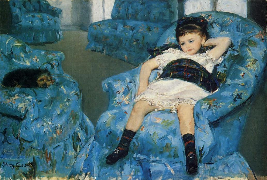 famous painting Little Girl in a Blue Armchair of Mary Stevenson Cassatt