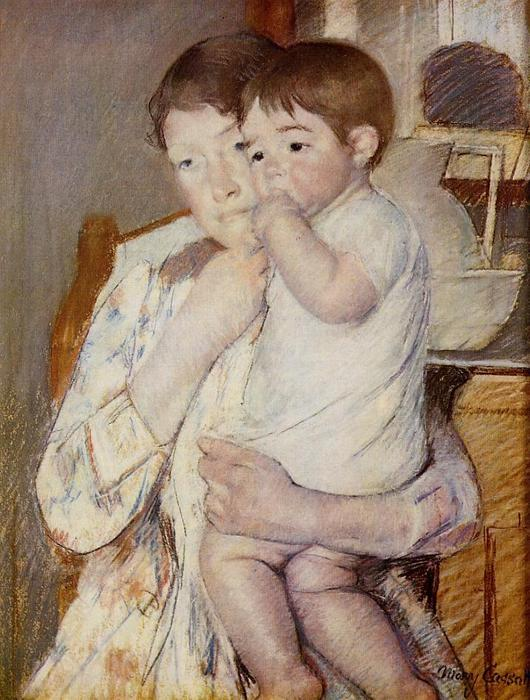 famous painting Baby in His Mother`s arms, sucking his finger of Mary Stevenson Cassatt