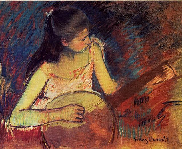 famous painting Girl with a Banjo of Mary Stevenson Cassatt