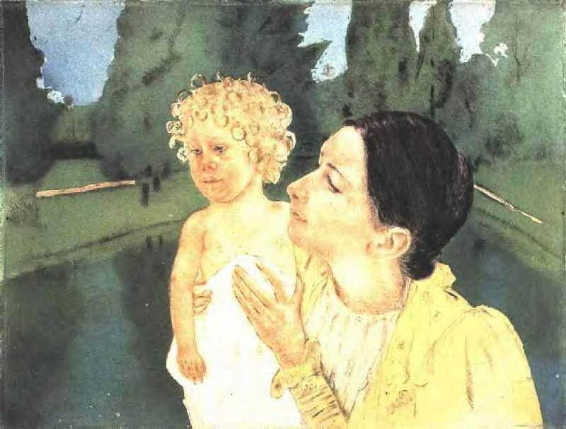 famous painting By the Pond of Mary Stevenson Cassatt