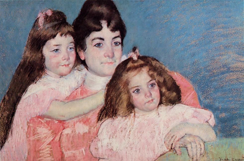 famous painting Portrait of Madame A. F. Aude and Her Two Daughters of Mary Stevenson Cassatt
