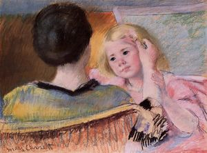 Mary Stevenson Cassatt - Mother combing Sara's hair