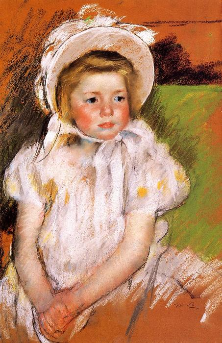 famous painting Somone in a White Bonnet of Mary Stevenson Cassatt