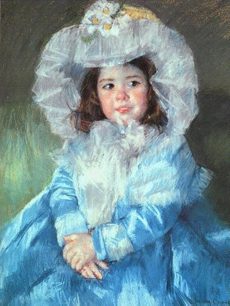 famous painting Margot in Blue of Mary Stevenson Cassatt