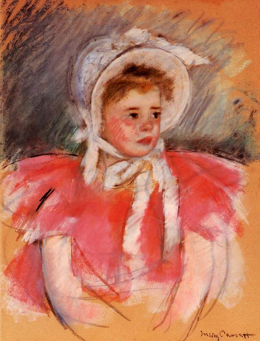 famous painting Simone in White Bonnet Seated with Clasped Hands (no.1) of Mary Stevenson Cassatt