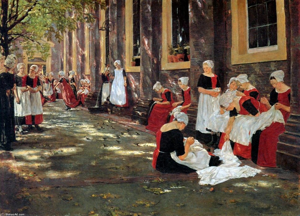 famous painting Free hour at Amsterdam orphanage of Max Liebermann