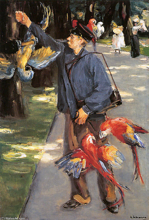 famous painting Parrot caretaker in Artis of Max Liebermann