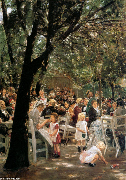 famous painting Beer garden in Munchen of Max Liebermann