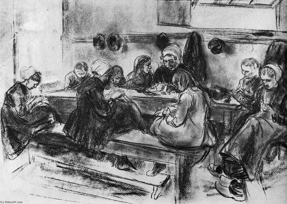 famous painting Sewing school of Max Liebermann