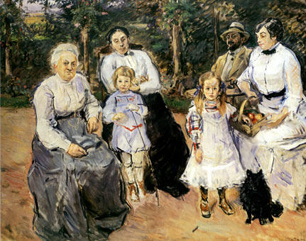 famous painting Slevogt family in the garden of Godramstein of Max Slevogt