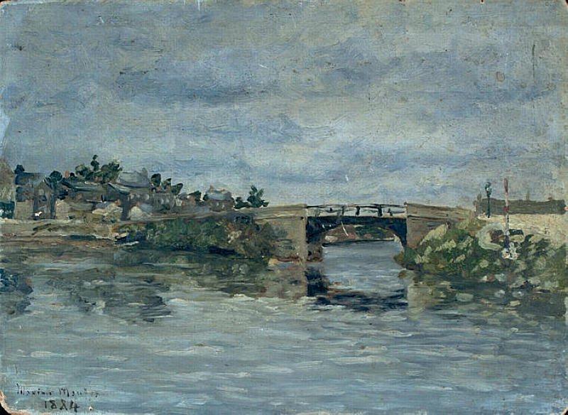 famous painting The old Bridge in Barbin of Maxime Emile Louis Maufra