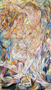 Oskar Kokoschka - Double Nude: Two Women
