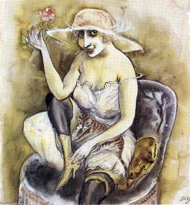 Otto Dix - Girl with Pink Rose