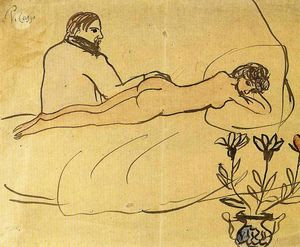 Pablo Picasso - Nude with Picasso by her feet