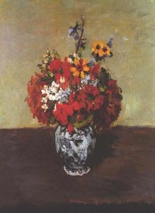 Paul Cezanne - Dahlias In A Delft Vase