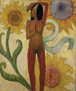 Paul Gauguin - Caribbean Woman, or Female Nude with Sunflowers