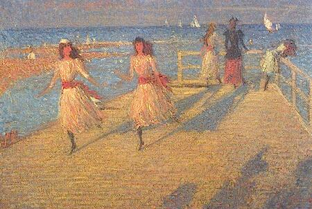famous painting Girls Running, Walberswick Pier of Philip Wilson Steer