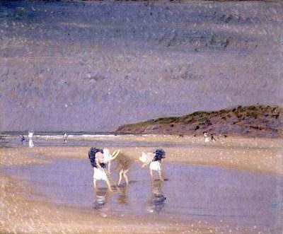 famous painting Boulogne Sands. Children Shrimping of Philip Wilson Steer