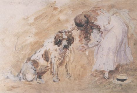 famous painting Girl and St. Bernard Dog of Philip Wilson Steer