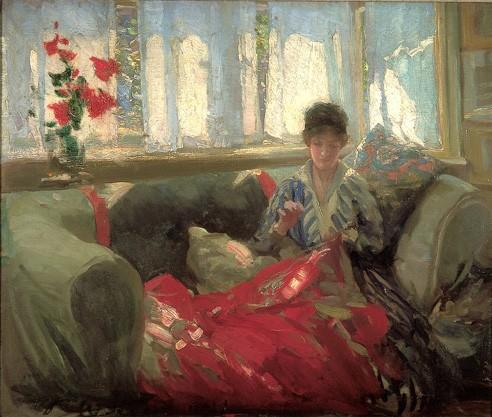 famous painting Woman Sewing of Philip Wilson Steer