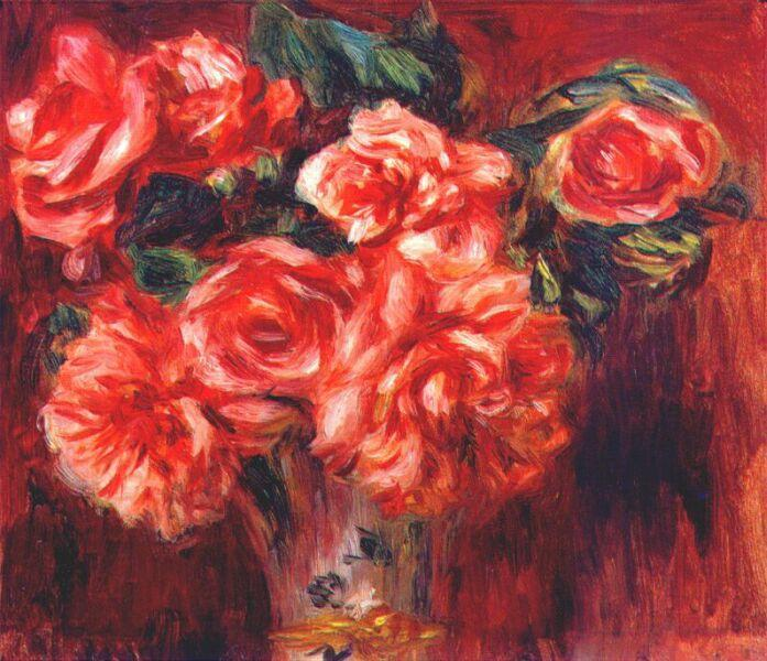 famous painting Moss roses of Pierre-Auguste Renoir