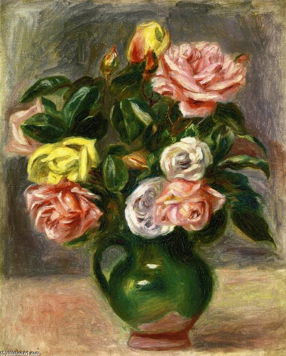 famous painting Bouquet of Roses in a Green Vase of Pierre-Auguste Renoir
