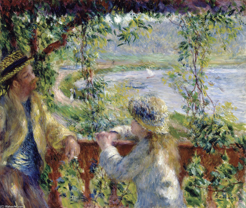 famous painting By the Water (Near the Lake) of Pierre-Auguste Renoir