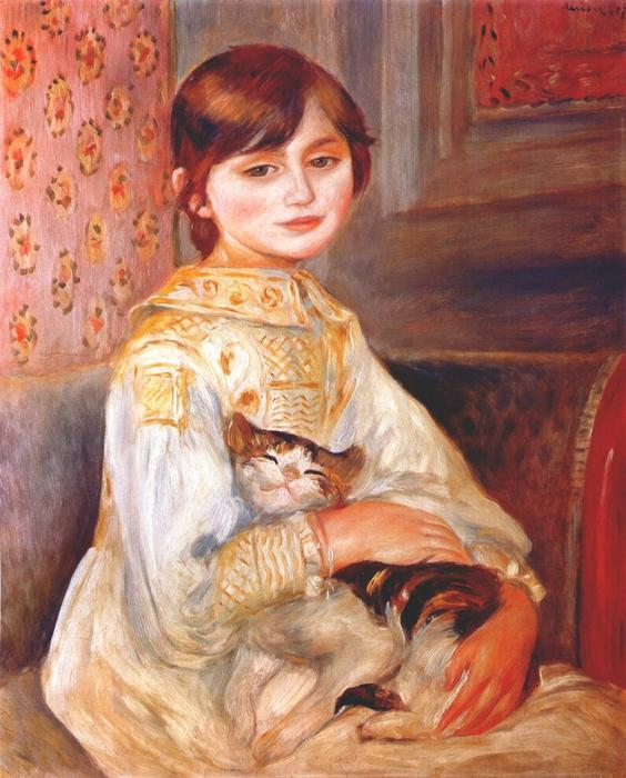 famous painting Child with cat (julie manet) of Pierre-Auguste Renoir