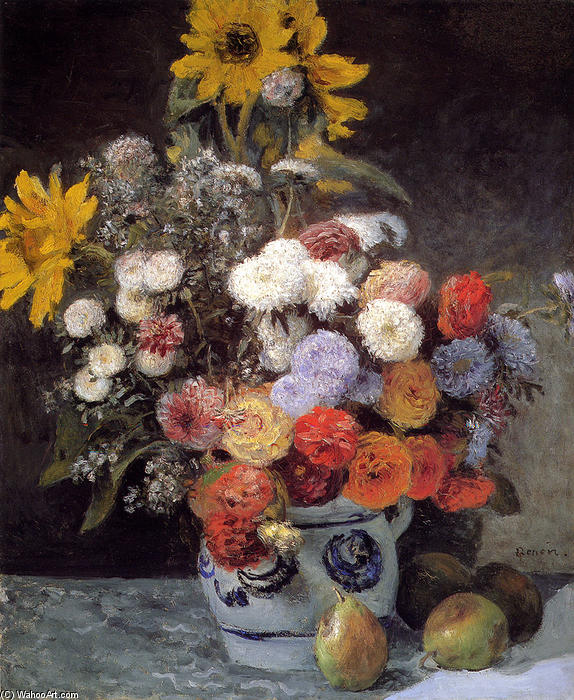 famous painting Mixed Flowers In An Earthware Pot of Pierre-Auguste Renoir
