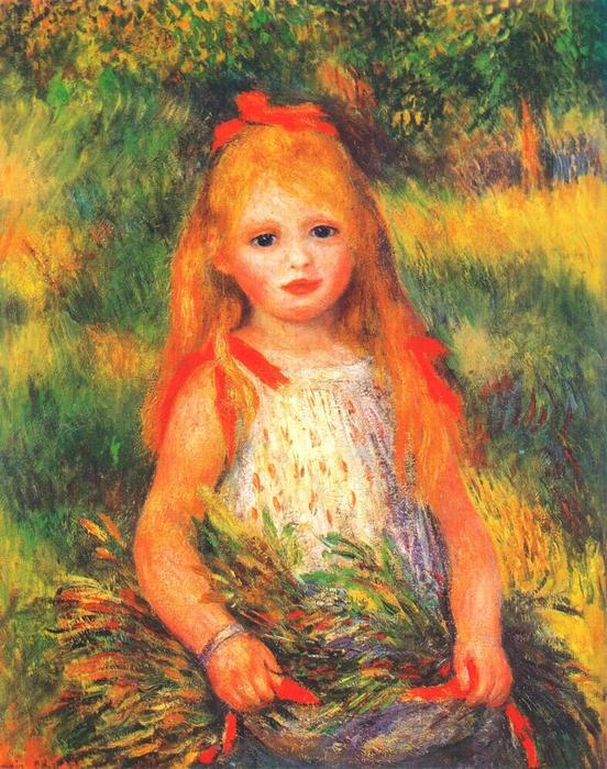 famous painting Girl with Flowers of Pierre-Auguste Renoir