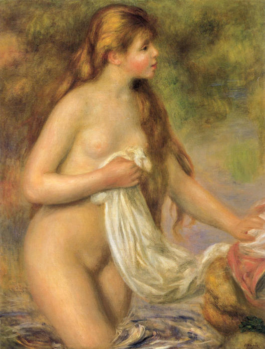 famous painting Bather with Long Hair of Pierre-Auguste Renoir