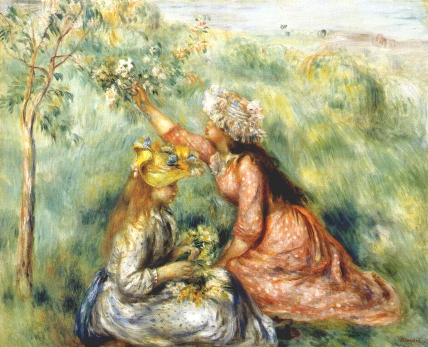 famous painting Girls picking flowers in a meadow of Pierre-Auguste Renoir