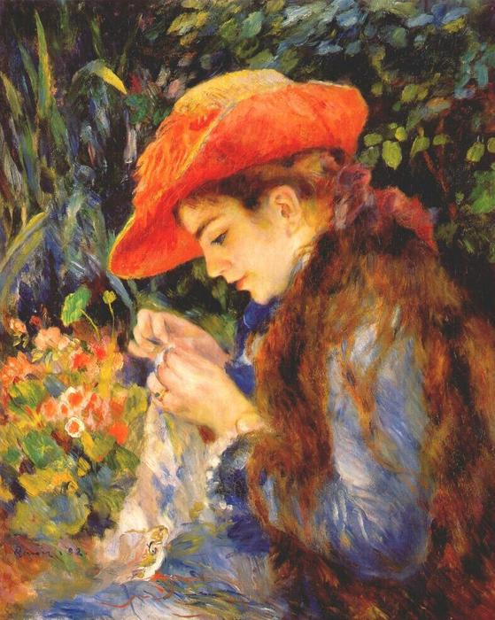famous painting Marie Therese durand ruel sewing of Pierre-Auguste Renoir