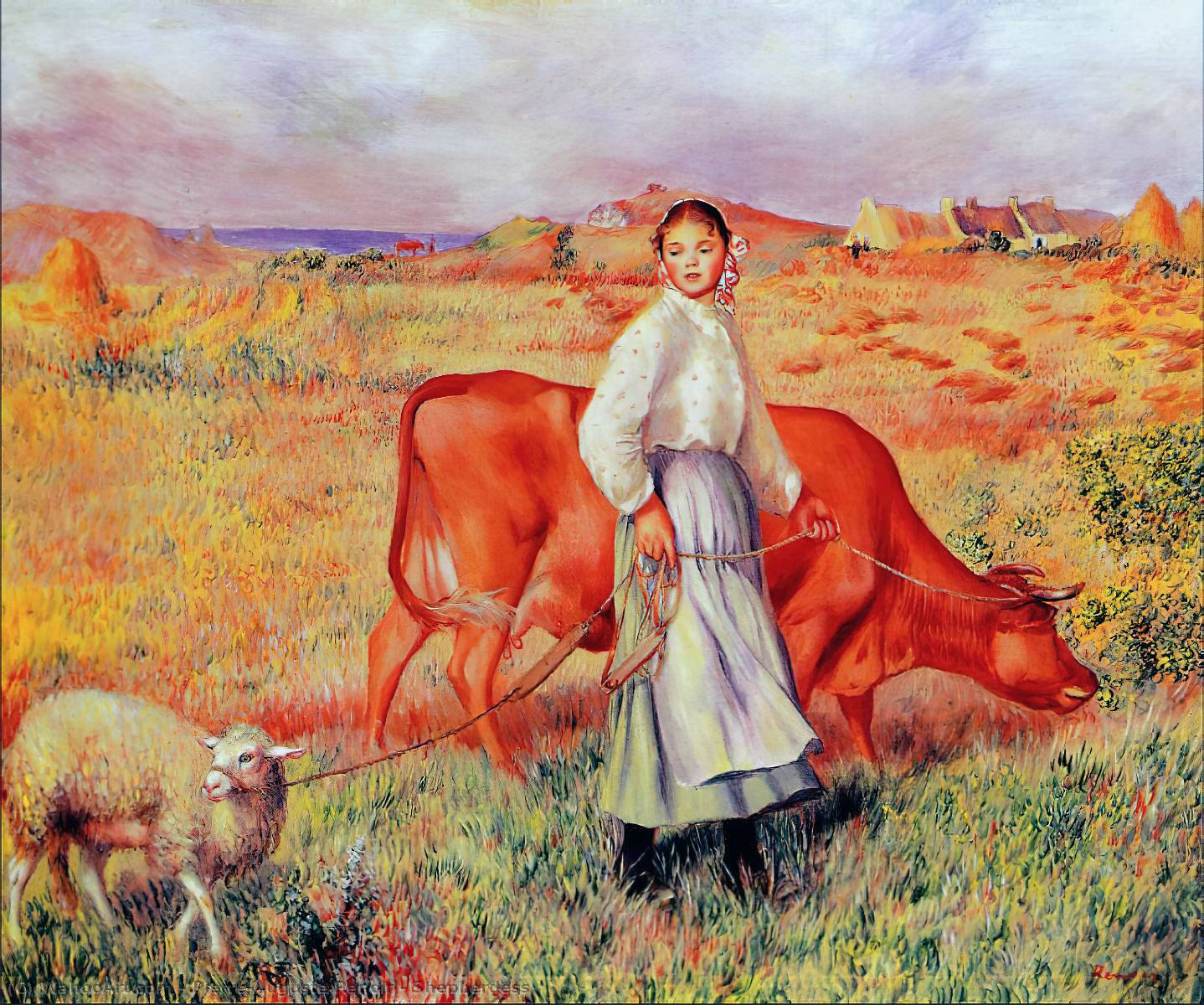 famous painting Shepherdess of Pierre-Auguste Renoir