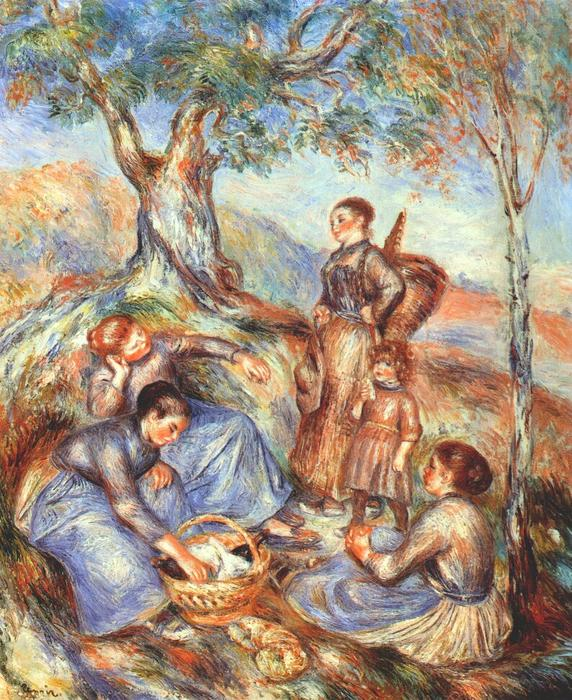 famous painting The grape pickers at lunch of Pierre-Auguste Renoir