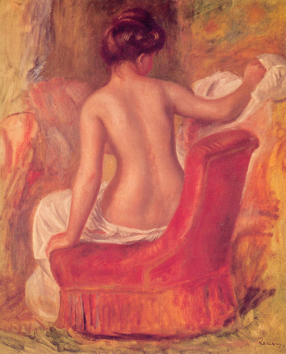 famous painting Nude in a Chair of Pierre-Auguste Renoir