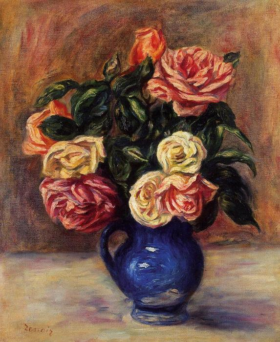 famous painting Roses in a Blue Vase of Pierre-Auguste Renoir