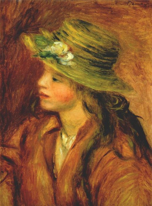 famous painting Girl with a straw hat of Pierre-Auguste Renoir
