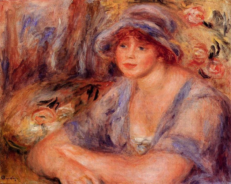 famous painting Andree in Blue (Andree Heurschling) of Pierre-Auguste Renoir