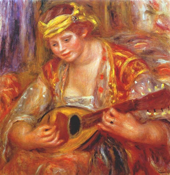 famous painting Woman with a mandolin of Pierre-Auguste Renoir