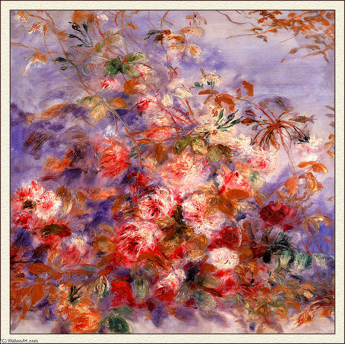 famous painting Roses By The Window of Pierre-Auguste Renoir