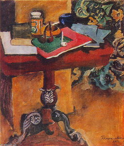 Pyotr Konchalovsky - Still Life. Table, books, and the pipes.