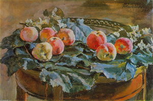 Pyotr Konchalovsky - Still Life. Apples at the roundtable.