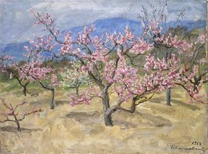 Pyotr Konchalovsky - Crimea. Blooming peach tree.