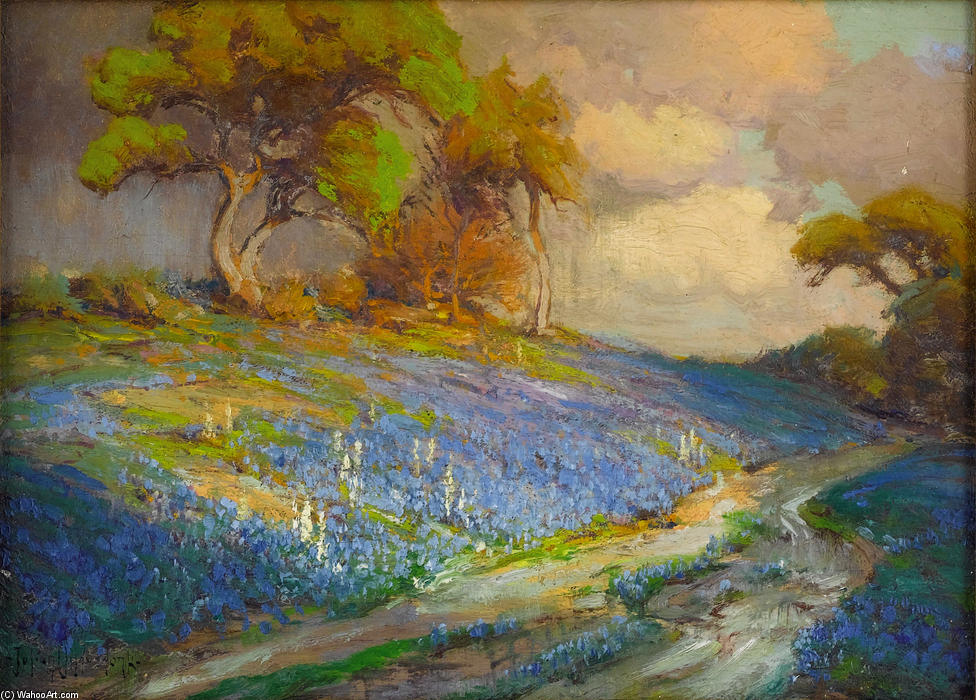 famous painting Late Afternoon in the Bluebonnets, S. W. Texas of Robert Julian Onderdonk