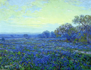 Robert Julian Onderdonk - Field of Bluebonnets under Cloudy Sky