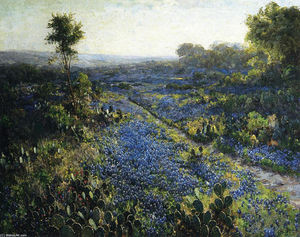 Robert Julian Onderdonk - Field of Texas Bluebonnets and Prickly Pear Cacti