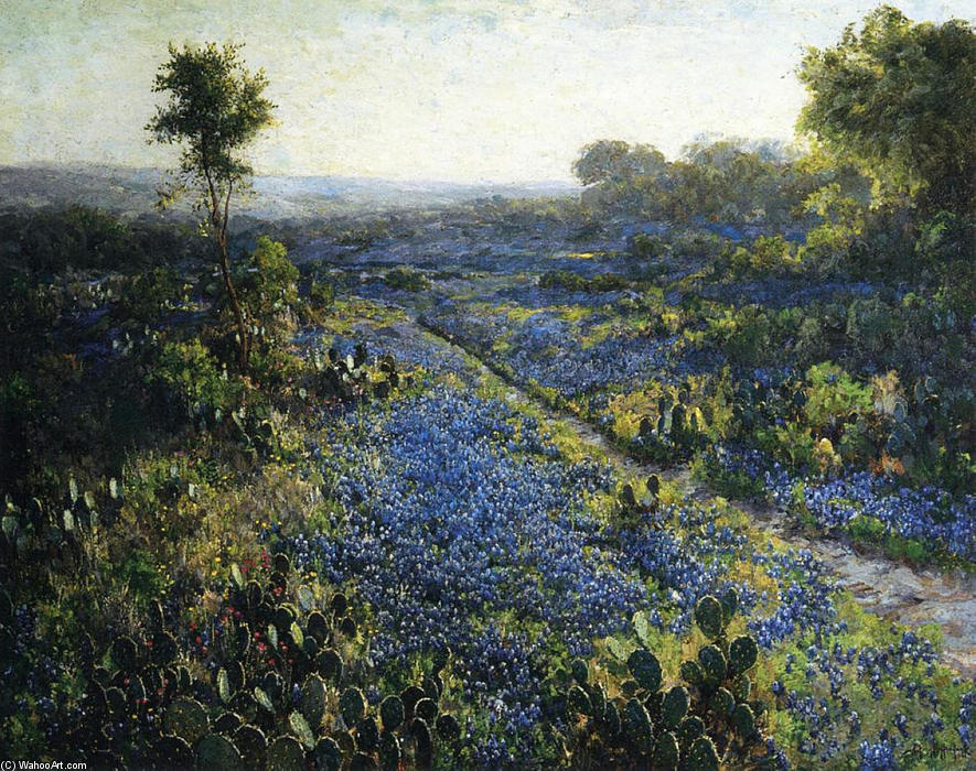 famous painting Field of Texas Bluebonnets and Prickly Pear Cacti of Robert Julian Onderdonk